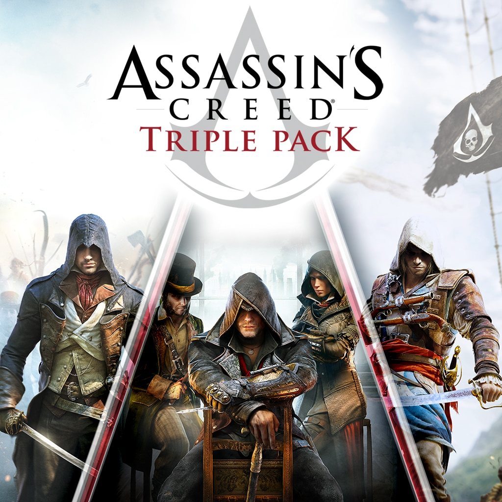 Pakke med tre Assassin's Creed-spill: Black Flag, Unity, Syndi
