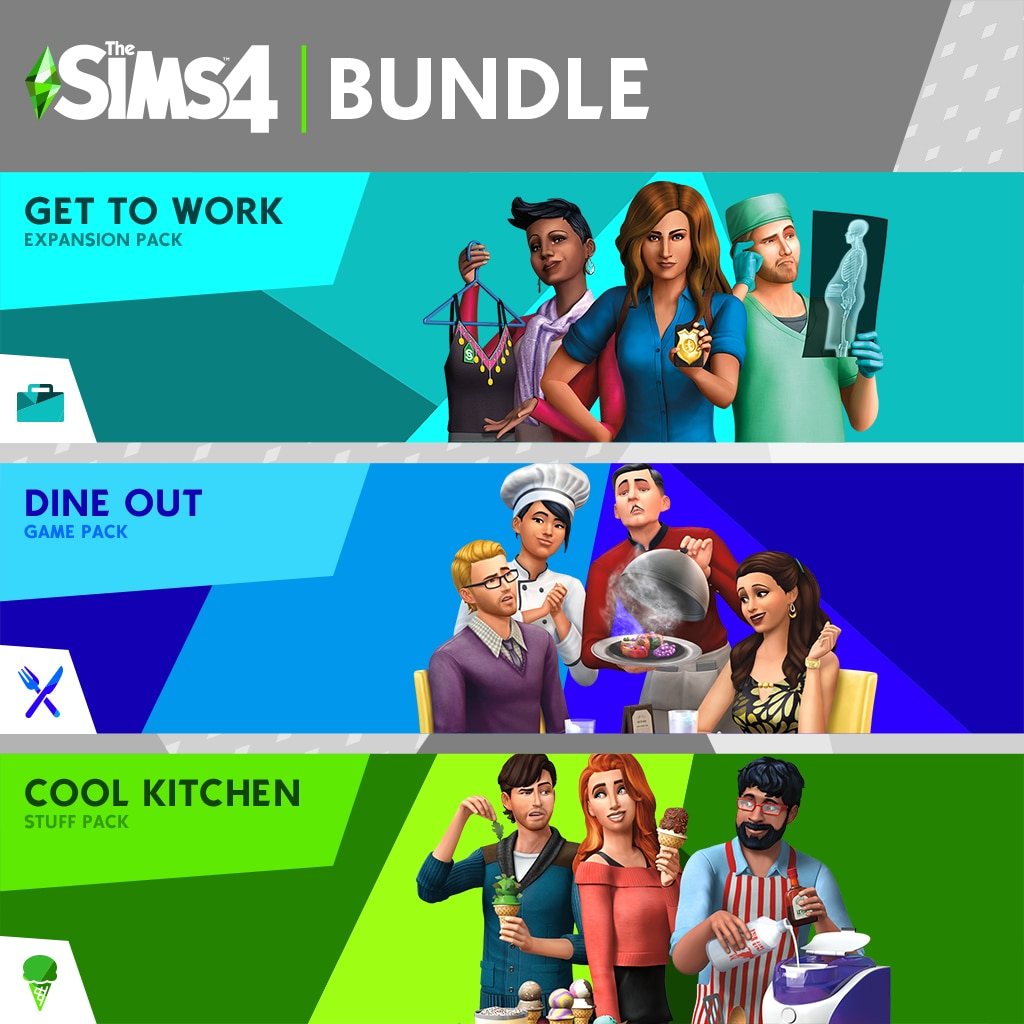 The Sims™ 4 Bundle - Get to Work、Dine Out、Cool Kitchen Stuff